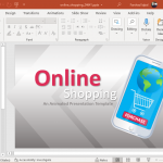Animated mobile online shopping PowerPoint template