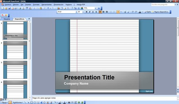 Lined Paper Powerpoint Template