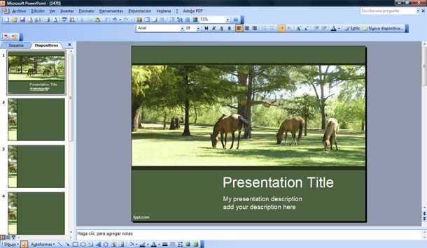 free horses powerpoint template