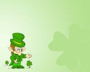 Free St. Patrick Power Point Template with Four Leaf Clover