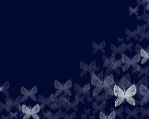 Free Butterfly PowerPoint Template over blue background color slide