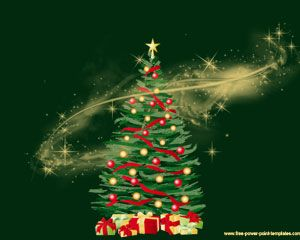 green christmas tree power point template