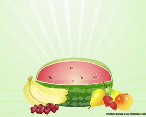 Free Fruit Power Point template with fresh fruits illustrations in the slide background