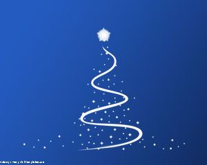 Merry Christmas Free Powerpoint Template with Christmas Tree in a Blue Background for Presentations