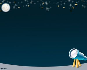 Free astronomy PowerPoint template with stars in the sky and telescope