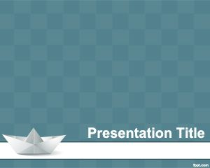 Origami PowerPoint template design with ship origami