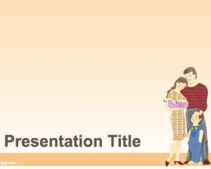Free PowerPoint Slide Design with Young Family Parents and Kid