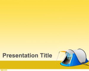 Camping PowerPoint Template with Yellow background and Camp or Tent illustration