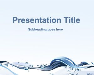 Free Water Waves PowerPoint template with abstract background and clean design