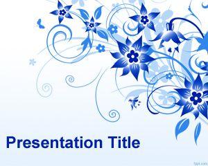 Plantilla PowerPoint con Flores Azules PPT Template