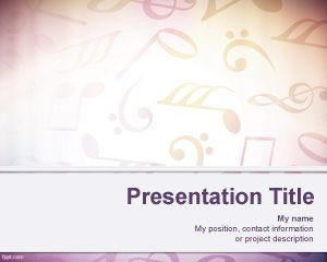 Free Sheet Music Notes PowerPoint Template with Music Note Symbols and Treble Clef design