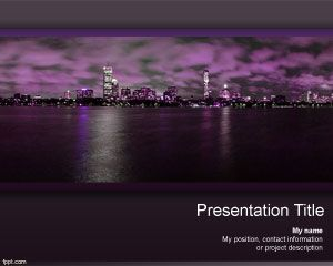Night Skyscraper PowerPoint Template PPT Template
