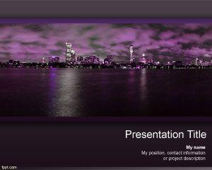 Night Skyscraper PowerPoint Template PPT Template