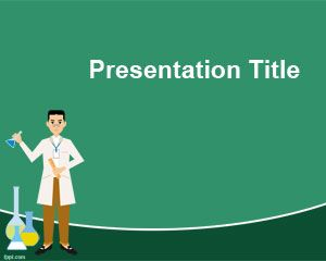 Free Chemistry PowerPoint Template with Physician and Green Background