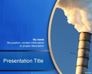 Free Industry PowerPoint Template design with chimney illustration