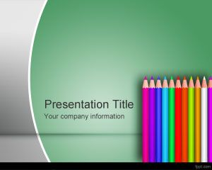 Color School Pencil PowerPoint Template PPT Template