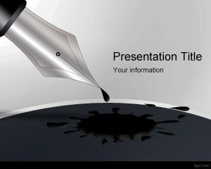 Black Ink Pen PowerPoint Template PPT Template