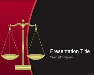 Criminal justice PowerPoint template with Balance and Red background