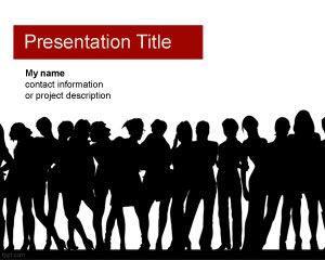 Lady Night PowerPoint Template with Human Silhouettes in the slide design