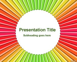 Radial Color Pen PowerPoint Template PPT Template