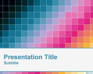Diagonal Pixel Color PowerPoint Template