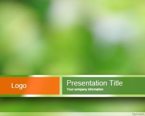 Sustainable PowerPoint Template with green background and blur effect