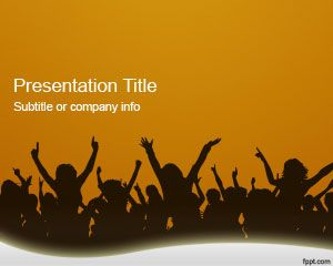 Orange Crowd PowerPoint Template
