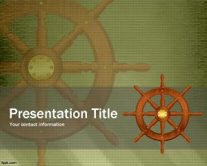 Free Ship's Wheel PowerPoint Template over sepia background