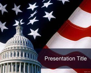 Free Capitol PowerPoint Template with American Flag background for PowerPoint