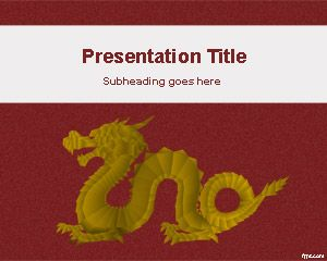 Example of dragon slide design for PowerPoint presentations with dragon image and red background color
