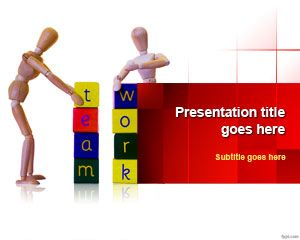 Team Working PowerPoint Template with Fun Team Working activities for work with building blocks