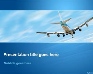 Airplane Flying Away in Sky PowerPoint Template
