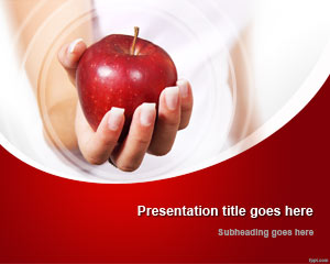 Hand & Red Apple PowerPoint Template