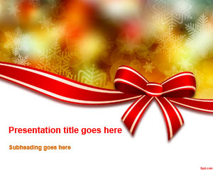 Free Christmas Bow Powerpoint Template