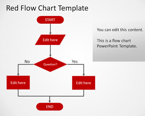 simple flow chart ppt template with red style