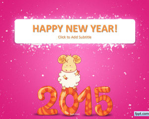 Free Happy Goat New Year 2015 PowerPoint Template