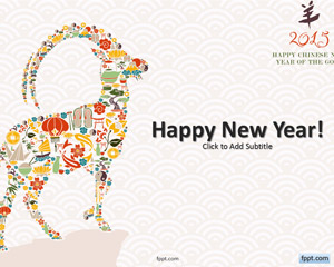 Free Chinese Goat New Year 2015 Powerpoint Template